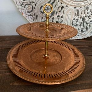 Vintage Coppercraft Guild 2 Tray Tiered Server